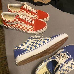 Red Checkerboard Vans & Blue Checkerboard Vans